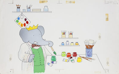 "Laurent de Brunhoff, '""Babar in his Studio,"" published cover illustration of Babar's Book of Color', 1984"