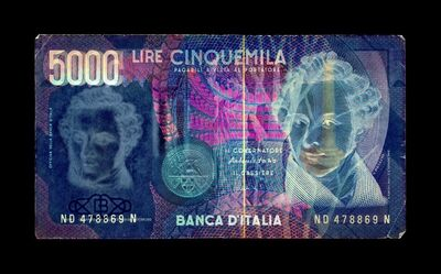 David LaChapelle, 'Negative Currency: 5000 Lira Used As Negative', 2015