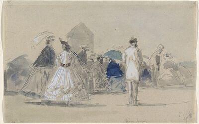 Eugène Boudin, 'Crinolines on the Beach', ca. 1865