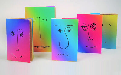 Rob Pruitt, '(5) Gradient Paperback Book Jacket's w/ Drawn Faces ', 2016