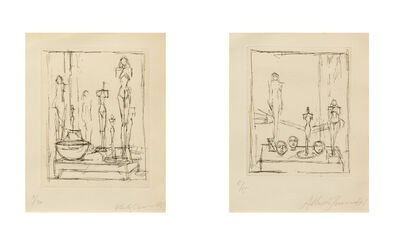 Alberto Giacometti, 'Characters in a Studio II (from Regard sur la peinture by Pierre Lob), 1950 and Untitled (Sculptures in the Studio),  c. 1950'