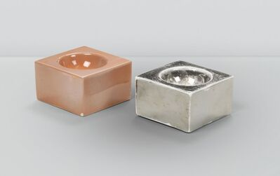 Ettore Sottsass, 'a pair of square ashtrays in enameled earthenware ceramics', ca. 1960
