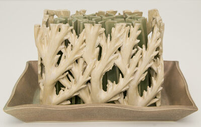 Linda Huey, 'Green and White Tulipiere'