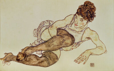 Egon Schiele, 'Reclining woman with black stockings', 1917