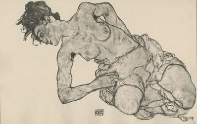 "Egon Schiele, '""Kneeling Female Semi-Nude"", Zeichnungen (plate XII)', 1917"