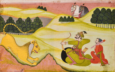 India, Mewar, 'A Raja Aims an Arrow at a Leaping Tiger', Early-mid 19th century