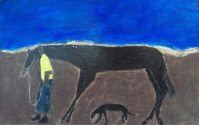 Gigi Mills, 'Walking the Track/ Horse Groom & Dog/ Blue', 2019