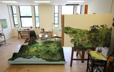"Amy Bennett, 'Artist's Studio View, model as landscape with underpainting for ""Weed Trees.""'"