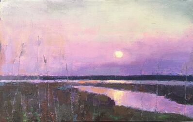 "Larry Horowitz, '""End of Day"" oil painting of a purple sunset reflecting over water and marshes', 2020"