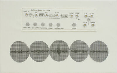 Stitch Dog, 'Analog Synth Case Embroidery +  Waveform Embroidery 'Signal Processor' White', 2020