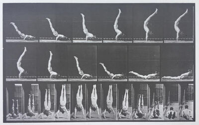 "Eadweard Muybridge, 'Plate 372. Acrobat, horizontal ""press up.""', 1887"