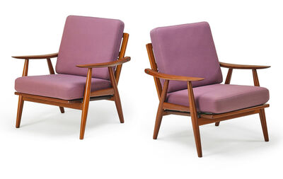 Hans Jørgensen Wegner, 'Pair of lounge chairs (GE260), Denmark', 1950s