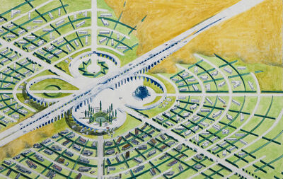 Mark Mack, 'Utopian California Community, Mobile Homes Park, Colored Overview', 1976