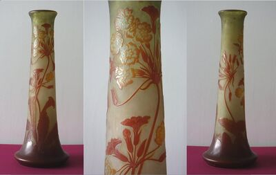 Emile Gallé, 'Glass paste vase decorated with Ombrelles in bloom', XXth century