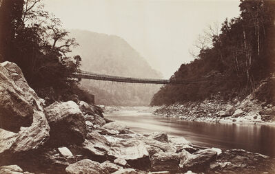Samuel Bourne, 'Darjeeling; Cane bridge over the Teesta river leading into Bhootan ', 1869