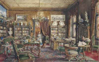 Hugo Darnaut, 'A gentleman and a maidservant in an interior of a library, possibly Austrian'