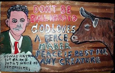 Howard Finster, 'Don't Be Bull Headed', 1976