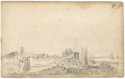 Jan van Goyen, 'Amsterdam: along a coastline with sailing vessels in the distance', ca. 1650-1651