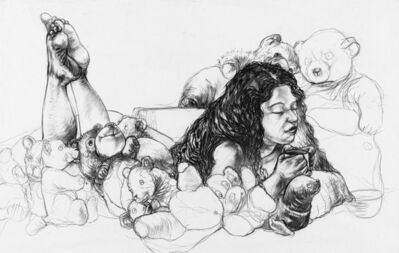 Diane Victor, 'Reclining Woman with Teddy Bears'