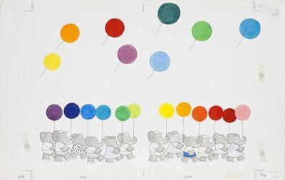 Laurent de Brunhoff, 'Published back cover illustration for Babar's Book of Color', 1984