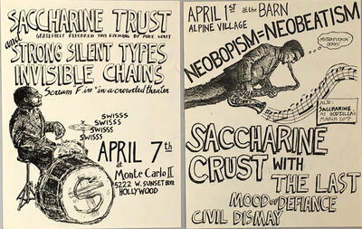Raymond Pettibon, 'Raymond Pettibon: set of two early punk flyers circa early 1980s ', ca. 1982