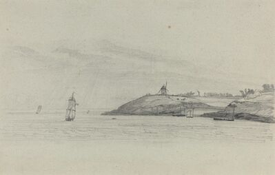 Eugène Boudin, 'Coastal Landscape with Shipping; Windmill in Distance', ca. 1858