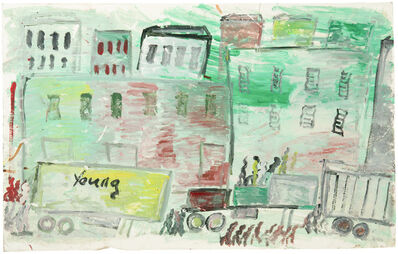 Purvis Young, 'Figures and trailers on the street'