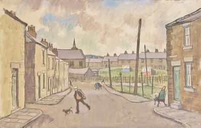 Norman Cornish, 'Street scene; man with dog', ca. 1970
