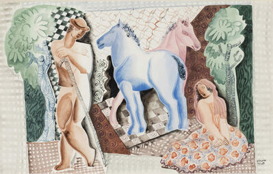 Béla Kádár, 'Landscape with Two Horses', ca. 1950