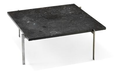 Poul Kjærholm, 'PK 61. Very early coffee table with matte chromed steel frame. Square top of black granite with fossils.'