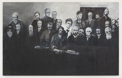 May Stevens, 'Rosa Luxemburg Attends the Second International', 1987