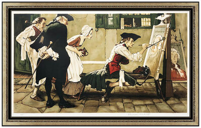 Norman Rockwell, 'Norman Rockwell Lithograph Hand Signed Colonial Sign Painter Large Illustration', 1975
