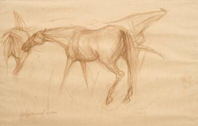 "Sunil Das, 'Early Horses II, Drawing, Conte on paper by Padmashree Awardee Artist ""In Stock""', 1959"