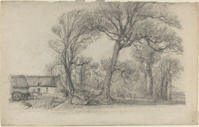 Eugène Boudin, 'Landscape with Trees, Cottage, and Farm Wagon', ca. 1858