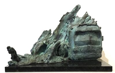 """Stanley Bleifeld, '""""Bus Stop in a Snowstorm"""" Bronze sculpture of people boarding a bus in a storm', 1967"""