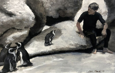 Clare Menck, 'Boy conversing with penguins', 2019