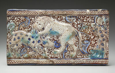 'Molded Luster Tile with Raised Braided Border and Cowherd Witnessing a Lion Attack a Calf against a Floral Background; Iran', ca. 13th century