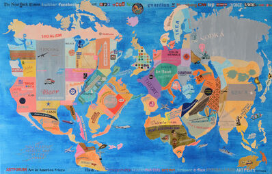 William Powhida, 'A Solipsistic Artist's Map of the World', 2015
