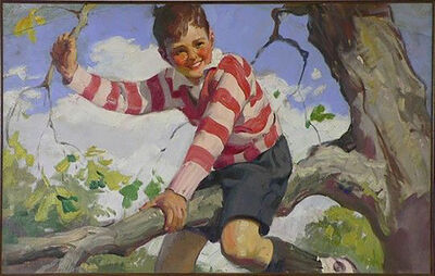 Haddon Sundblom, 'Boy in Striped Sweater Sits on a Tree Branch, Advertisement, Cream of Wheat', 1929