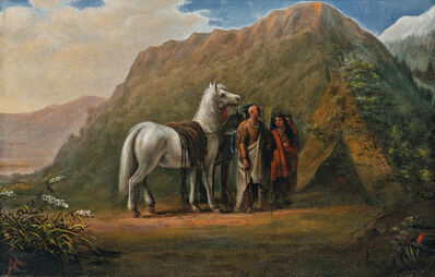Attributed to Alfred Jacob Miller, 'Indian Encampment'