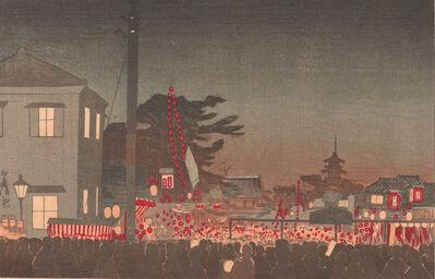 Kobayashi Kiyochika 小林清親, 'Year-end Market at Sensōji temple', Meiji era-1881
