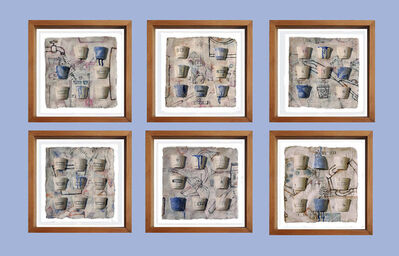 """Arun Bain, 'Believe, Faith, Truth, Six Panels, Ink, Earth, Watercolor, Blue, White by Contemporary Indian Artist """"In Stock""""', 2017"""
