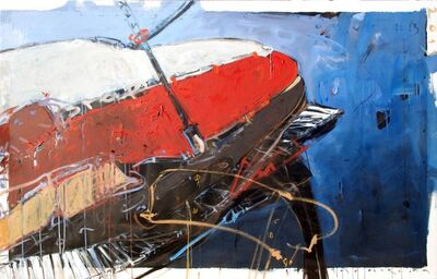 "Santiago Garcia, '""Omnibus"" abstract painting of a grand piano in vibrant red, white and blue', 2010-2017"
