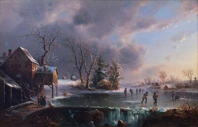 Régis François Gignoux, 'Skaters On A Frozen Pond', 1816-1882