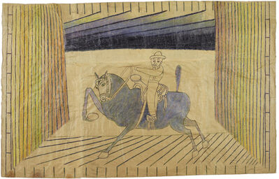 Martín Ramírez, 'Untitled (Caballero on Blue Horse)', c. 1952-55