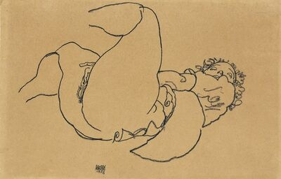 Egon Schiele, 'Reclining female nude with raised legs', 1918