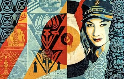 "Shepard Fairey, '""Raise the Level""', 2019"