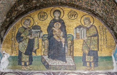 'Madonna and Child, flanked by Emperor Justinian', 10th century C.E.