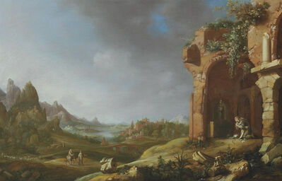 Bartholomeus Breenbergh, 'A landscape with the Flight into Egypt and a hermit monk praying in classical ruins', 1635