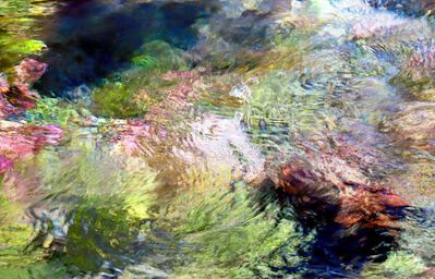 Larry Garmezy, 'In the Flow of Time - Abstract / impressionist water photography, waterscape, natural abstraction, Rocky Mountains, in green, red, yellow, and blue', 2019